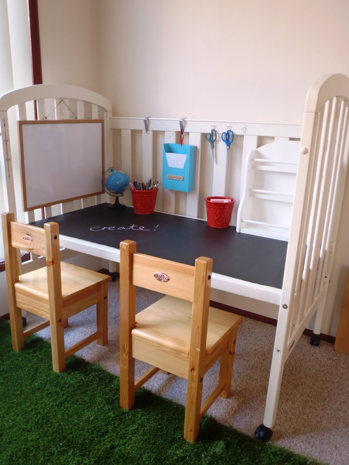 Create a work station for kids using an old crib as seen on A Little Learning for Two. See more repurposing ideas for kids rooms on Design Dazzle!