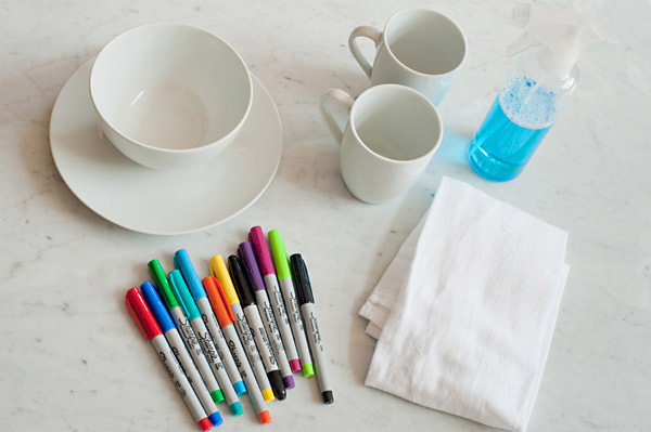 The kids will love using colorful Sharpie markers to create their own ceramic works of art.
