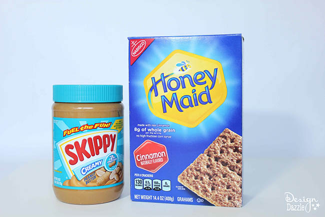 Honey Maid graham crackers and Skippy peanut butter are essentials for making a great graham cracker nativity!