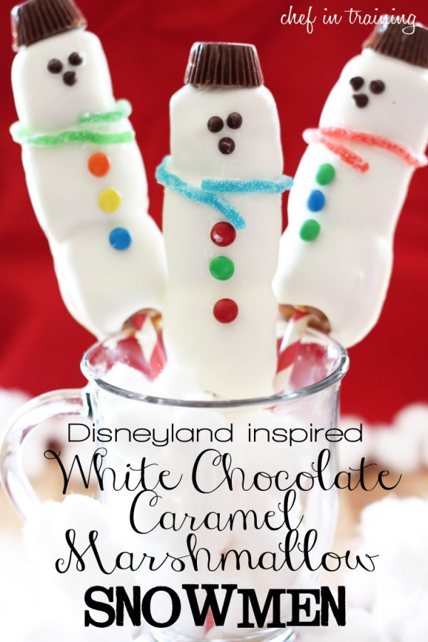 Your kids will LOVE these Disneyland inspired white chocolate caramel marshmallow snowmen!