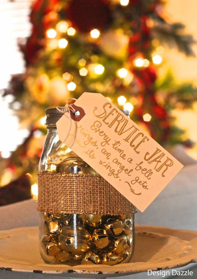 Service Jar Idea: Every Time a Bell Rings an Angel Gets His Wings! Each family member places a jingle bell in the jar every time they give service {help the angels get their wings!} Free printable. Design Dazzle
