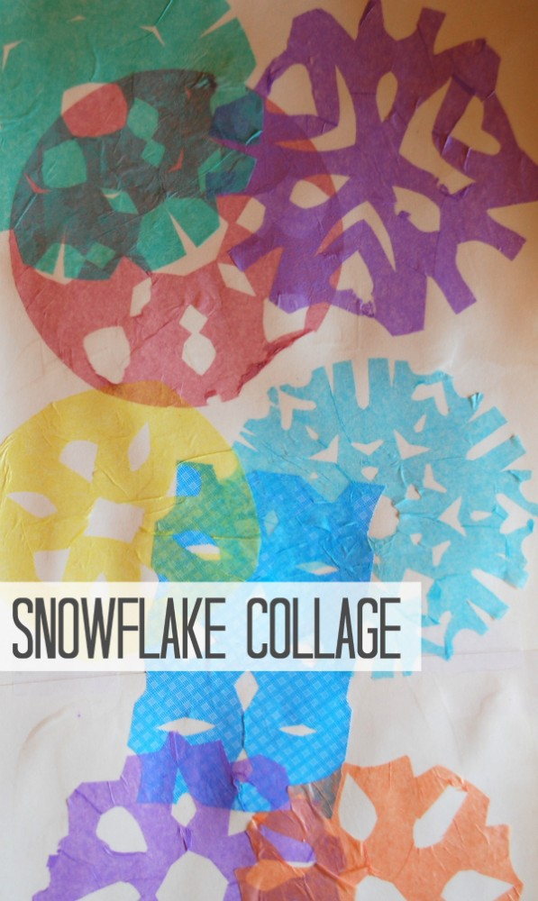Make aprety snowflake collage for a fun indoor winter activity for the kids