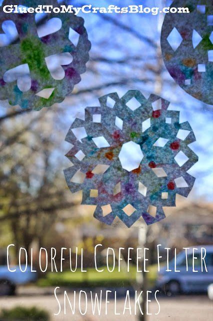 Help the kids make colorful coffee filter snowflakes for a fun indoor winter activity.