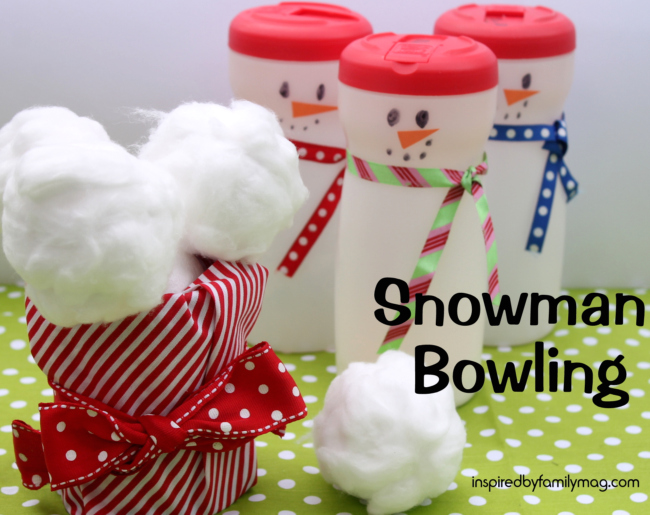 Snowman bowling - what a fun indoor winter activity for kids!