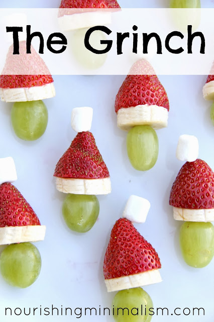 So fun! Grinch kabobs for the kids and healthy too!