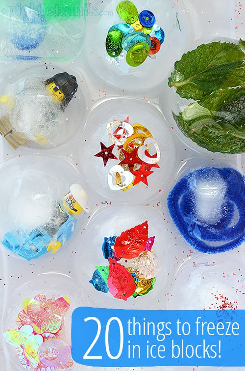 20 things to freeze in ice - the kids will love this for some afternoon fun in the house