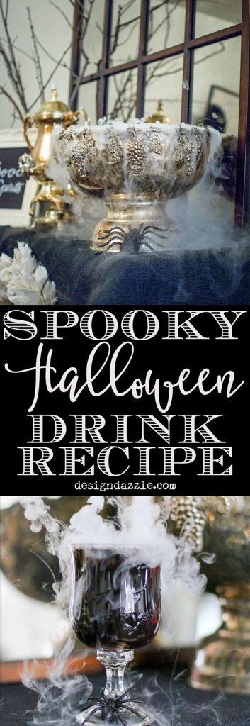 The recipe and set up for a spooky drink station that was not only so easy to make but also very delicious | halloween party ideas | halloween party decor | halloween drink recipes | spooky drink recipes | halloween drinks station | party ideas for halloween || Design Dazzle