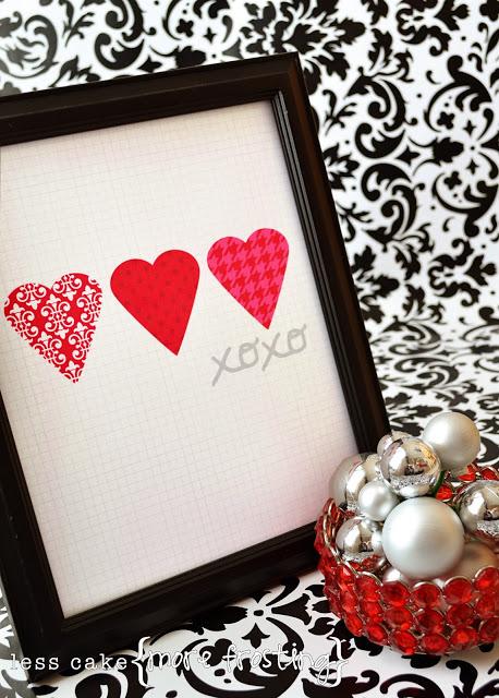 3 chic hearts printable