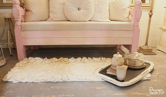 DIY Rosette Fabric Rug tutorial on Design Dazzle. Such a simple, gorgeous project!