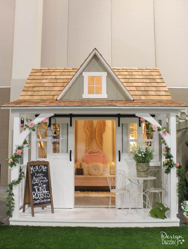 Turn a shed into a beautiful Mom Cave! Check it out on Design Dazzle.