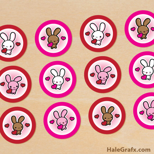 bunny valentine cupcake toppers