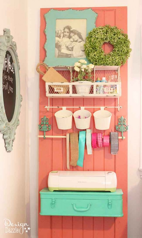 Design Dazzle craft room tour. Create an organization spot using an old door!
