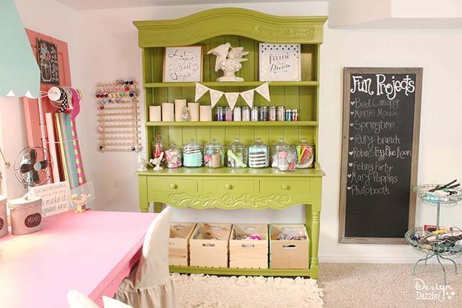 I'm giving you a full tour of my craft room! Check out the details of my happy place on Design Dazzle.