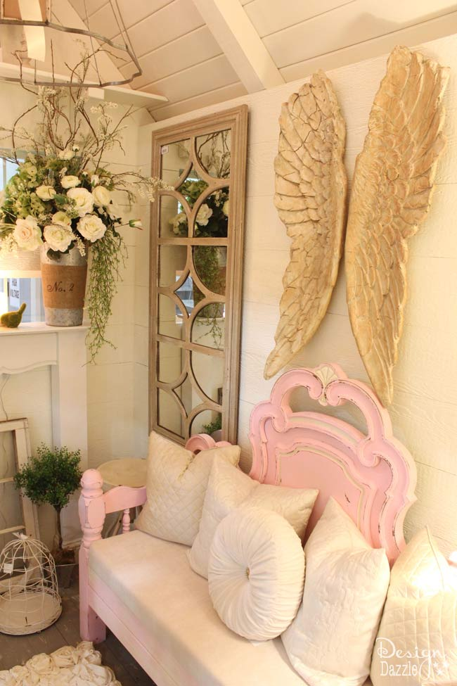 Check out all of the beautiful details of this shabby chic Mom Cave on Design Dazzle!