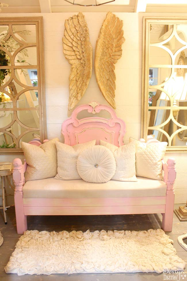 This beautiful bench was made by Re-D-Fined Furniture. Check it out in Design Dazzle's Mom Cave!