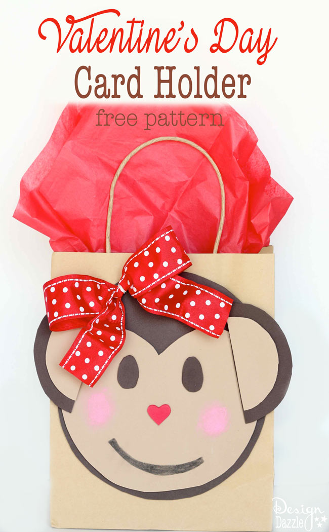 Make this darling Monkey Valentine Card Holder with your kids or for your kids! Add a bow tie for boys or a ribbon for the girls. Free pattern and easy instructions to create! - Design Dazzle