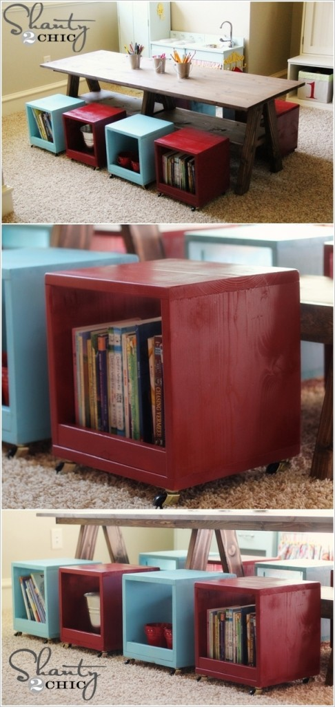 table with storage cube seats