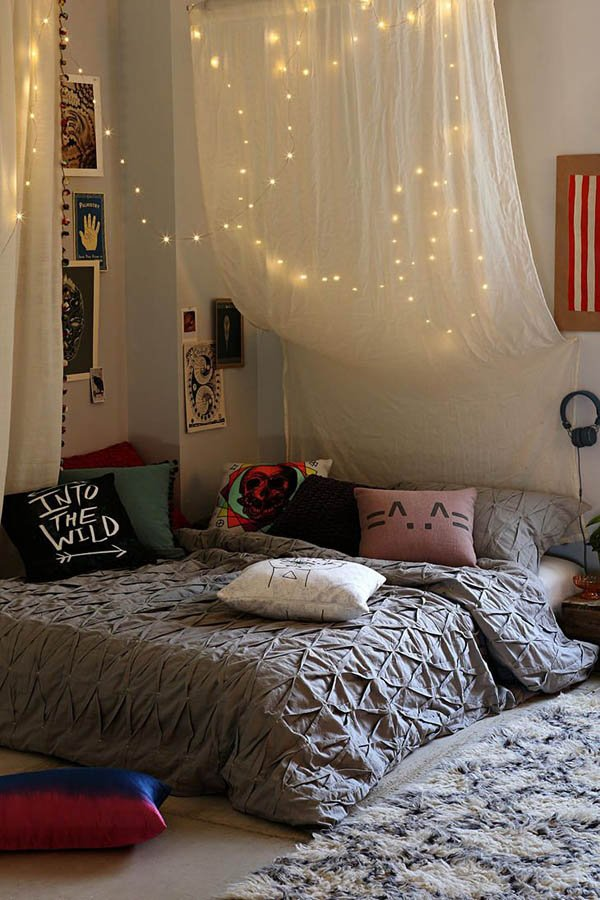 Personalize A Teen Bedroom With A Bed Canopy With Lights