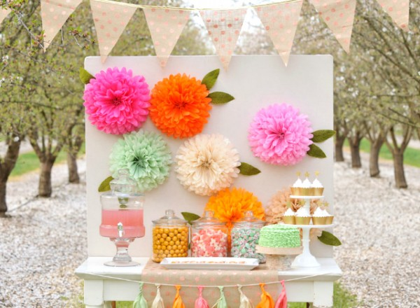 You May Have Seen My Tutorial For Flower Pom Poms Well Just Make A Few And Add Them To Backdrop An Elegant Garden Party