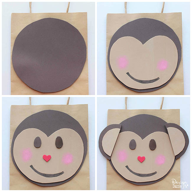 Step-by-step tutorial for how to make a monkey Valentine holder for your little monkey. Check it out on Design Dazzle!