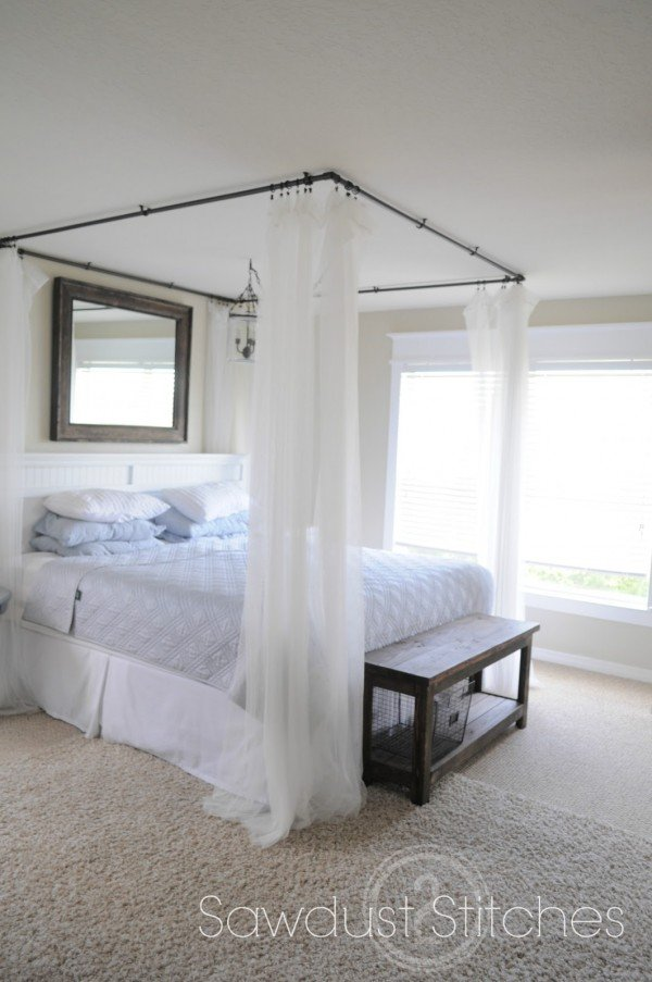 Painted PVC pipe makes an awesome DIY bed canopy...who knew?