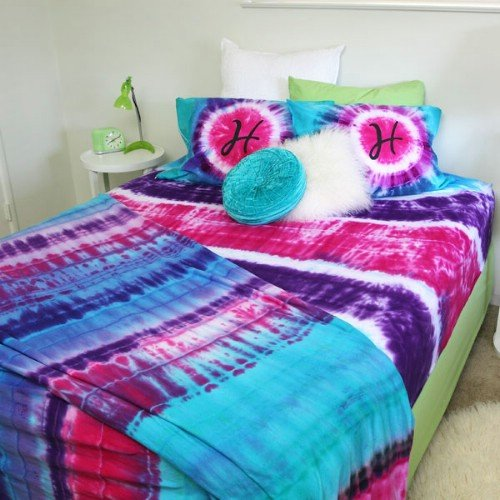 step-by-step instructions for tie dye bedding