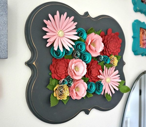 Beautiful Paper Flower Wall Art made with a Cricut Explore for this cute little girl room makeover