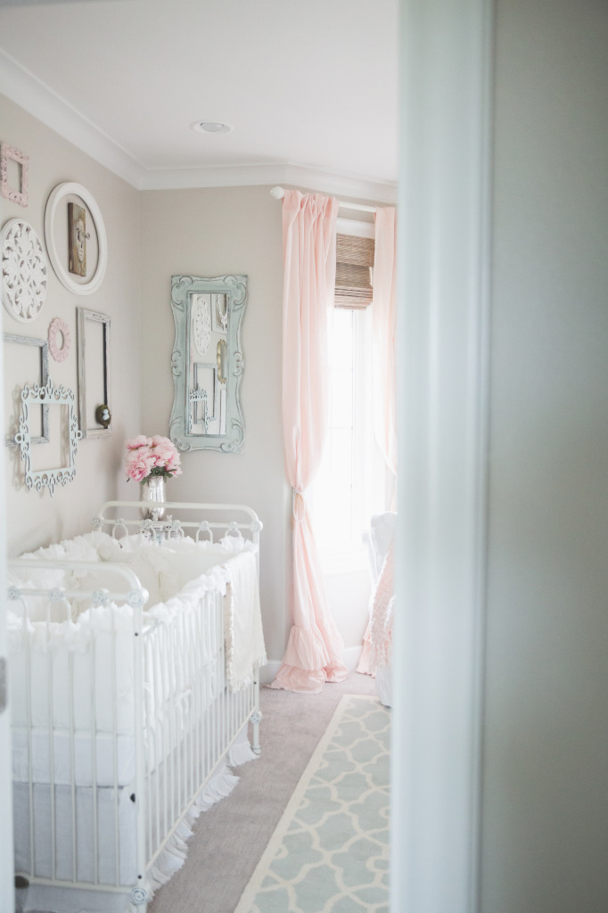 This vintage nursery is drop-dead gorgeous! That crib is perfection!