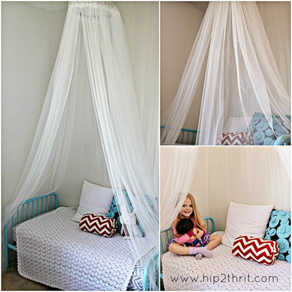 This DIY bed canopy is fantastic! Perfect for my little gals' room!