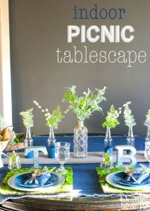 Indoor picnic tablescape using denim | Design Dazzle