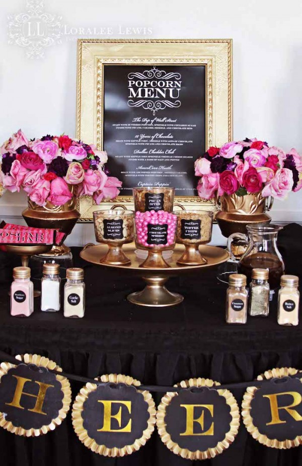 Gorgeous pink, gold & black Oscar Party from Loralee Lewis