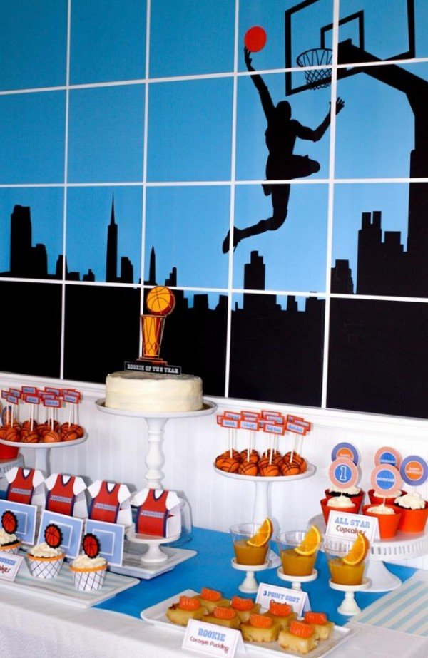 basketball party with a slam dunk of a backdrop