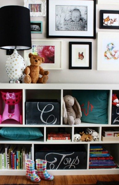 Wine crates covered in chalkboard paint. for toy organization!