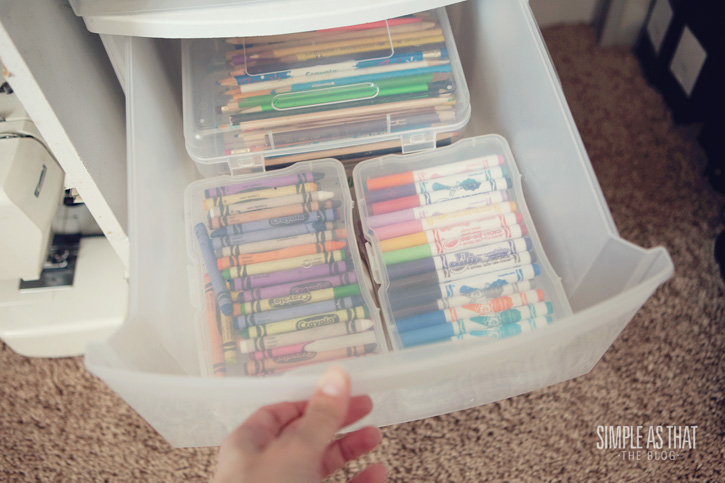 Photo cases as craft supply storage! Genius!