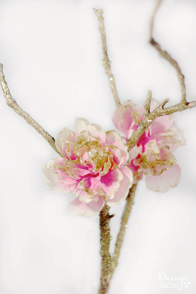Glittered fairy branch design dazzle