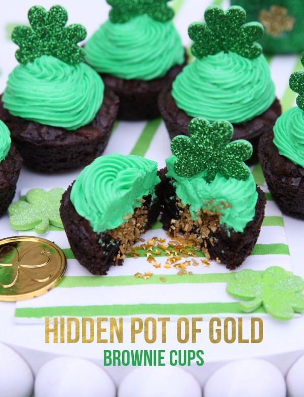 hidden pot of gold brownie cups