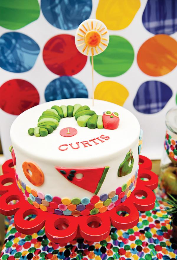Hungry caterpillar party birthday cake