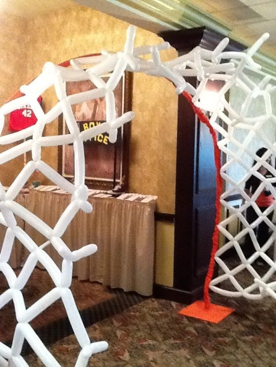 Giant Basketball Net Made Out Of Balloons