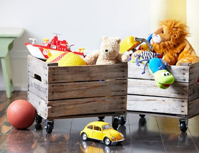 These rolling organizers are gorgeous! Awesome toy organization idea!