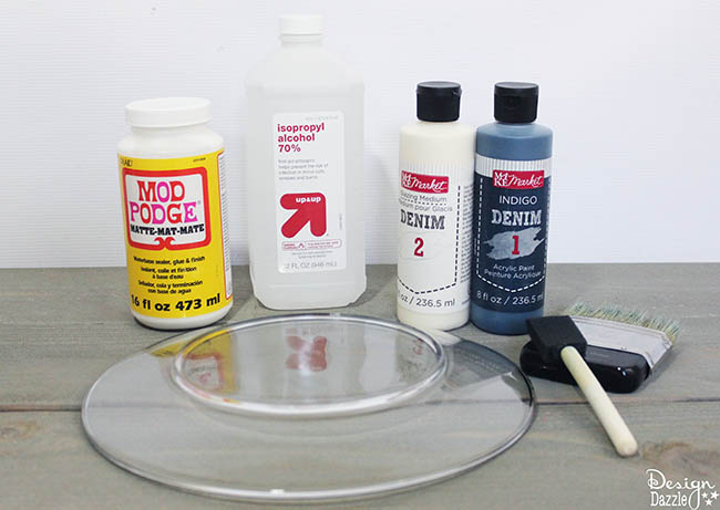 Supplies to make #denim glass plates. Such a fun, easy #DIYproject on Design Dazzle!