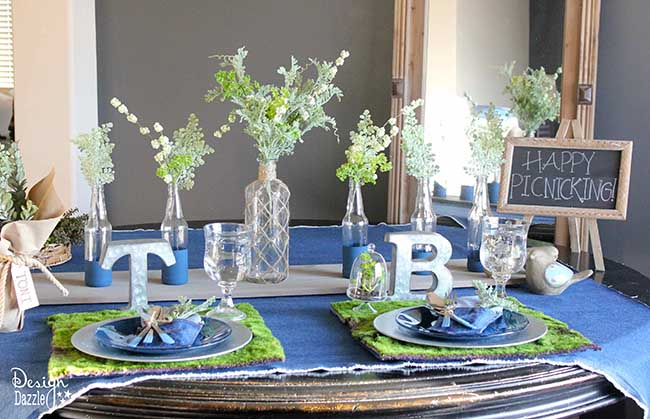 Denim is the new trend! Check out my indoor picnic table on Design Dazzle!