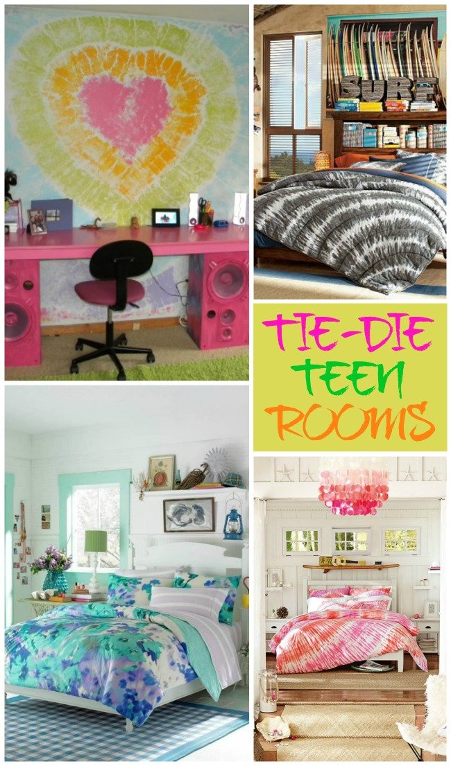 Include tie die elements in your teen room for an extra pop of color!