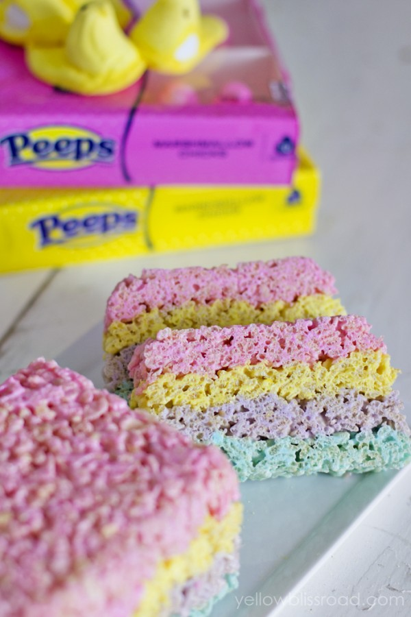 Layered Peeps Rice Krispie treats are a yummy and fun Easter treat!