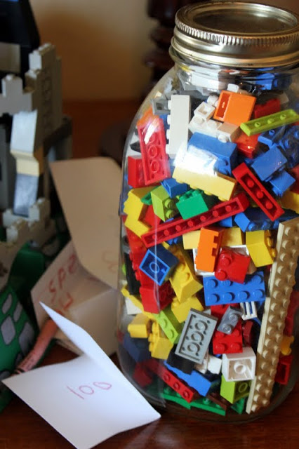 Guessing the lego - what an awesome idea for a birthday party to welcome the guests!