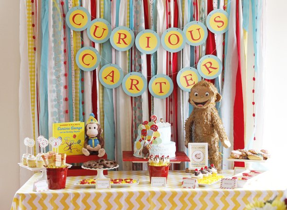 Colorful Curious George birthday party