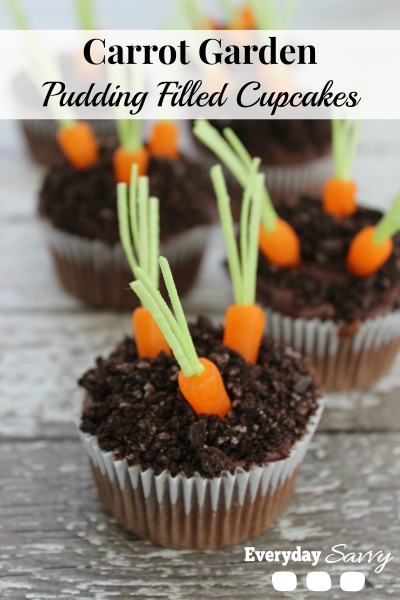 Darling carrot garden cupcakes are perfect for Easter!