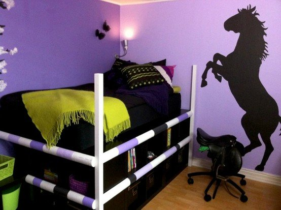 purple and black girls horse bedroom