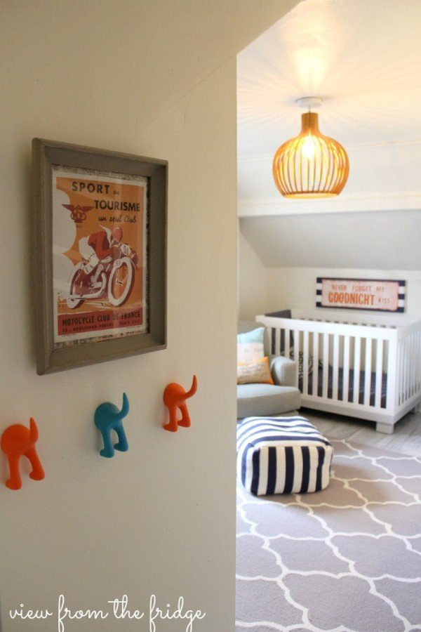 shared boys room - looking in to the crib side of the room - check out the amazing light fixture!