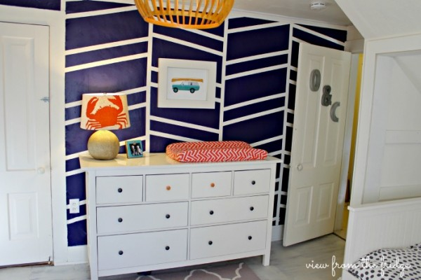 geometric acccent wall - a focal point for a shared boys room
