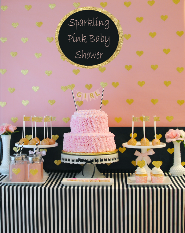 Sparkling pink gold & black baby shower